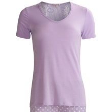 PJ Salvage Lace Lounge Shirt - Stretch Modal, V-Neck, Short Sleeve (For Women) in Purple - Closeouts