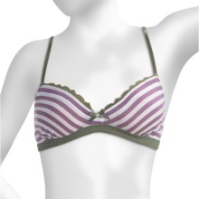 P.J. Salvage Olive Outing Striped Bra - Cotton-Modal (For Women) in Grape - Closeouts