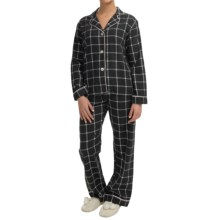 PJ Salvage Peached Twill Pajamas - Long Sleeve (For Women) in Black - Closeouts