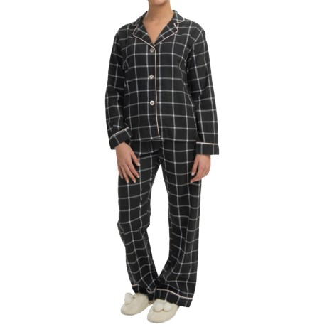 PJ Salvage Peached Twill Pajamas Long Sleeve (For Women)