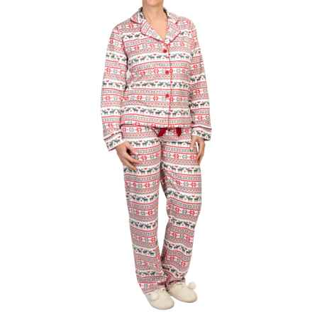 PJ Salvage Plush Polar Fleece Pajamas - Long Sleeve (For Women) in Ivory - Closeouts