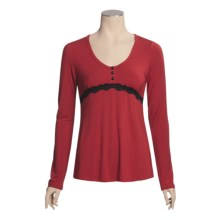 PJ Salvage Stretch Modal Pajama Top - Long Sleeve (For Women) in Red - Closeouts