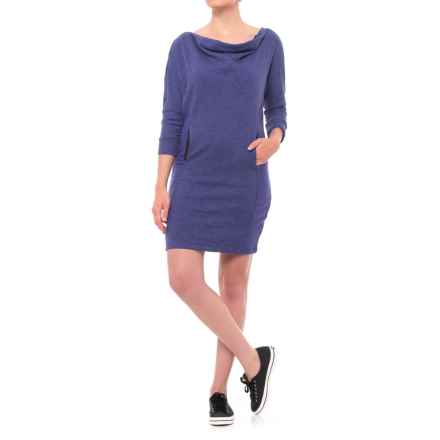 PL Movement by Pink Lotus Sweatshirt Dress - 3/4 Sleeve (For Women) in Blueberry - Closeouts