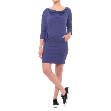 PL Movement by Pink Lotus Sweatshirt Dress - 3/4 Sleeve (For Women) in Blueberry