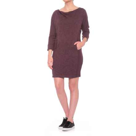 PL Movement by Pink Lotus Sweatshirt Dress - 3/4 Sleeve (For Women) in Merlot - Closeouts