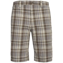 Plaid Cotton Shorts (For Men) in Brown/Grey - Closeouts