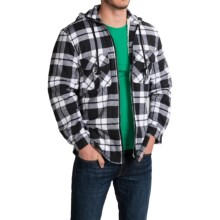 Plaid Shirt Jacket (For Men and Big Men) in Black/White Large Plaid - 2nds