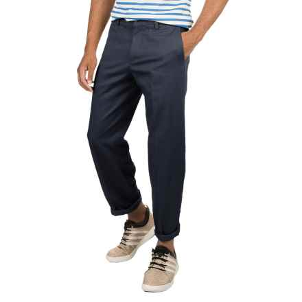 Plain Front Twill Pants - Relaxed Fit (For Men) in Navy - 2nds