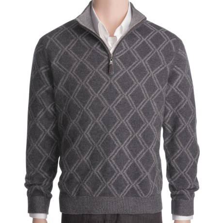 Plaited Diamond Cashmere Sweater - Zip Mock Neck (For Men) in Charcoal/Zinc