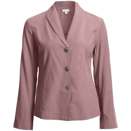 Pleated Back Jacket - TENCEL® Blend, Unlined (For Women) in Dark Rose
