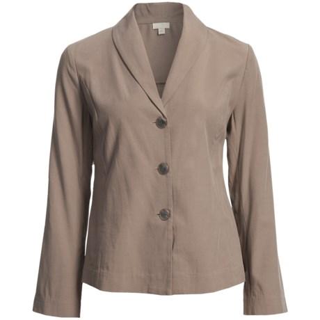 Pleated Back Jacket - TENCEL® Blend, Unlined (For Women) in Khaki