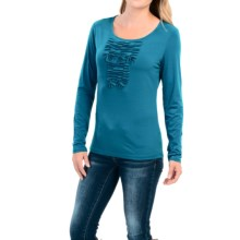 Pleated Bodice Stretch Shirt - Long Sleeve (For Women) in Bayou Teal - 2nds