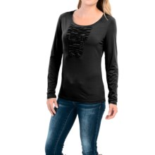 Pleated Bodice Stretch Shirt - Long Sleeve (For Women) in Black - 2nds