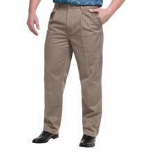 Pleated Cotton Pants - Straight Leg (For Men) in Khaki - 2nds
