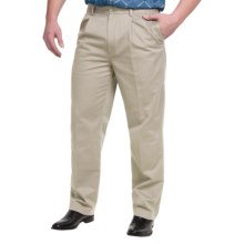 Pleated Cotton Pants - Straight Leg (For Men) in Stone - 2nds