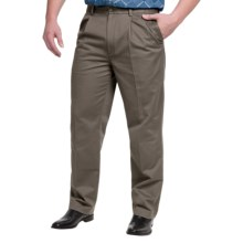 Pleated Cotton Pants - Straight Leg (For Men) in Taupe - 2nds