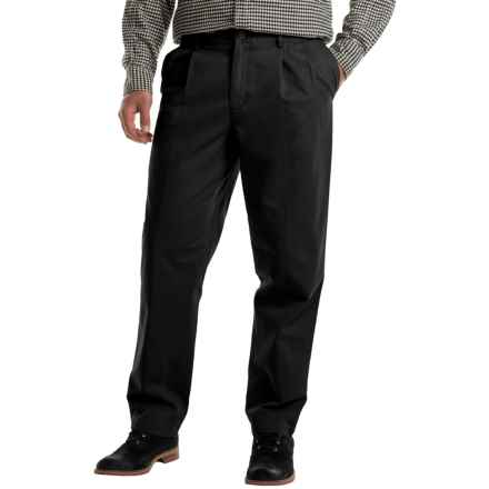 Pleated Cotton Twill Pants (For Men) in Black - 2nds