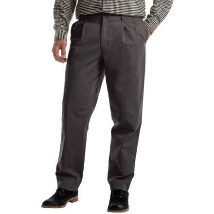 Pleated Cotton Twill Pants (For Men) in Charcoal - 2nds