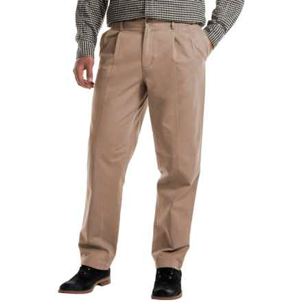 Pleated Cotton Twill Pants (For Men) in Light Taupe - 2nds