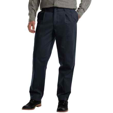Pleated Cotton Twill Pants (For Men) in Navy - 2nds
