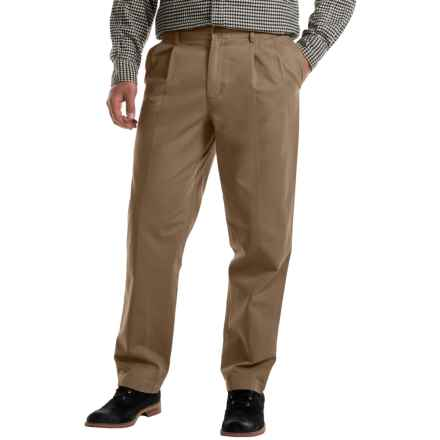 Pleated Cotton Twill Pants (For Men) in Taupe - 2nds