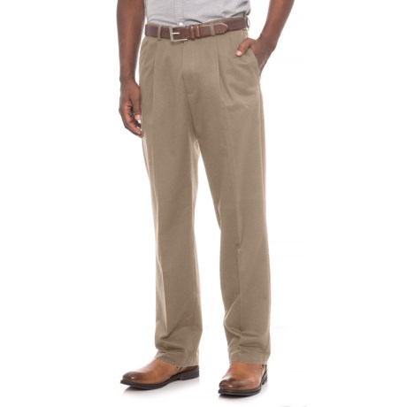 Pleated Front Cotton Pants (For Men) in Khaki