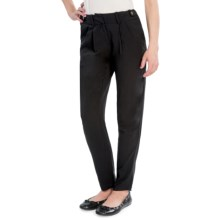 Pleated Front Dress Pants - Viscose (For Women) in Black - 2nds
