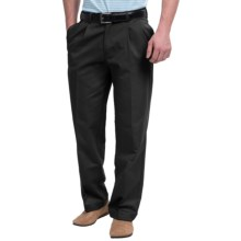 Pleated-Front Twill Pants - Cuffed Hem (For Men) in Black - Closeouts