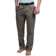 Pleated-Front Twill Pants - Cuffed Hem (For Men) in Dark Taupe - Closeouts