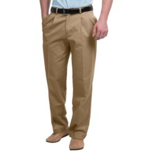 Pleated-Front Twill Pants - Cuffed Hem (For Men) in Khaki - Closeouts