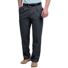 Pleated-Front Twill Pants - Cuffed Hem (For Men) in Navy - Closeouts