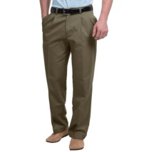 Pleated-Front Twill Pants - Cuffed Hem (For Men) in Olive - Closeouts