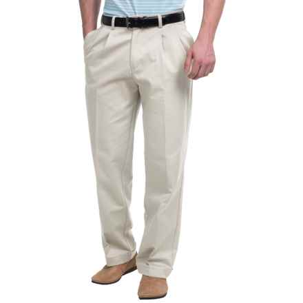 Pleated-Front Twill Pants - Cuffed Hem (For Men) in Stone - Closeouts
