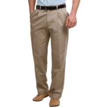 Pleated-Front Twill Pants - Cuffed Hem (For Men) in Taupe - Closeouts