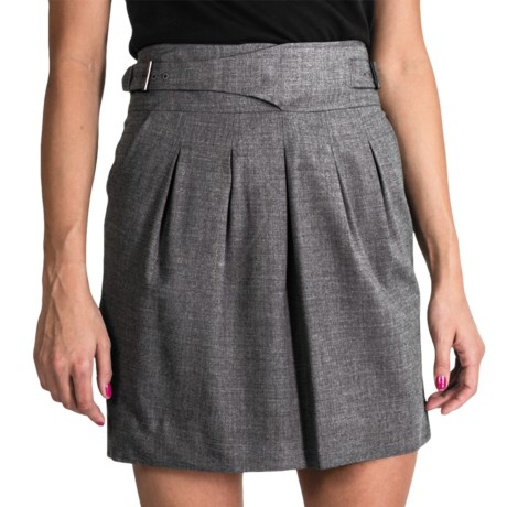 Pleated High-Waist Skirt with Side Buckles - Wool Blend (For Women) in Grey