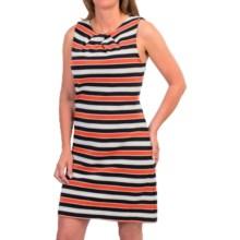 Pleated Neck Dress - Sleeveless (For Women) in Navy/Orange/Grey - 2nds