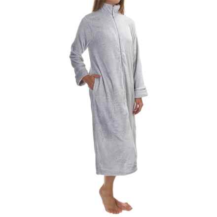 Plush Frosted Zip Robe - Long Sleeve (For Women) in Grey - 2nds
