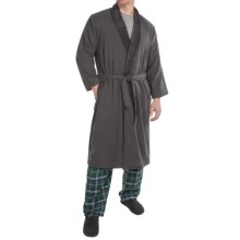 Plush-Lined Microfiber Robe - Long Sleeve (For Men) in Charcoal - Closeouts