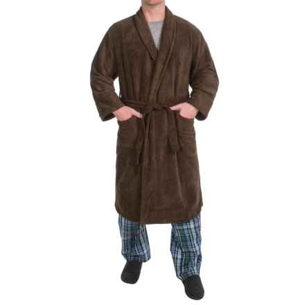 Plush Shawl Collar Robe - Long Sleeve (For Men) in Chocolate - Closeouts