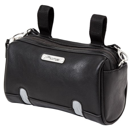 Po Campo Fulton Powered Handlebar Bag in Black Faux Leather