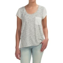 Pocket T-Shirt - Short Sleeve (For Women) in Cream/Grey Heather Print - 2nds