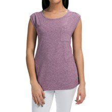 Pocket T-Shirt - Sleeveless (For Women) in Plum Heather - 2nds