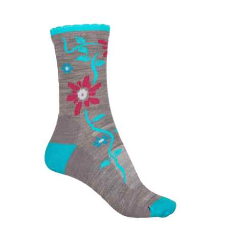 Point 6 Point6 Active Life Bloom Extra-Light Socks - Merino Wool, 3/4 Crew (For Women) in Stone/Robins Egg - Closeouts