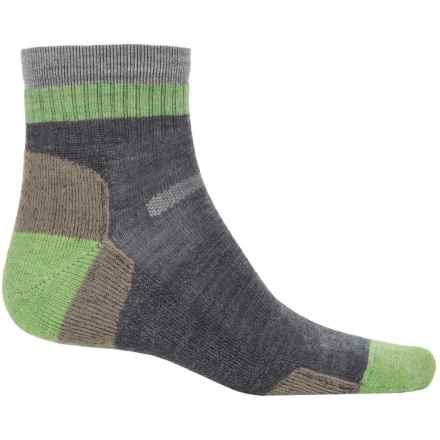 Point 6 Point6 Block Stripe Hiking Socks - Merino Wool, Quarter Crew (For Men and Women) in Gray - Closeouts