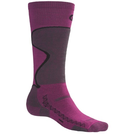 Point6 1432 Midweight Ski Socks - Merino Wool, Over-the-Calf (For Men and Women) in Fuchsia