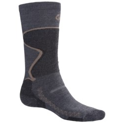 Point6 1432 Midweight Ski Socks - Merino Wool, Over-the-Calf (For Men and Women) in Grey/Black