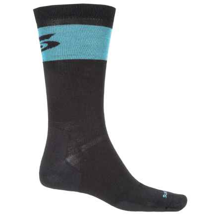 Point6 37.5® Pop Top Socks - Merino Wool, Crew (For Men and Women) in Black/Robins Egg - Closeouts