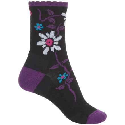 Point6 Active Life Bloom Extra-Light Socks - Merino Wool, 3/4 Crew (For Women) in Black - Closeouts