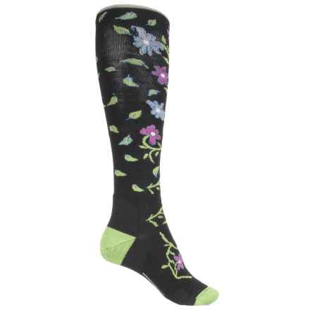 Point6 Active Life Floral Vine Light Socks - Merino Wool, Over the Calf (For Women) in Black - Closeouts