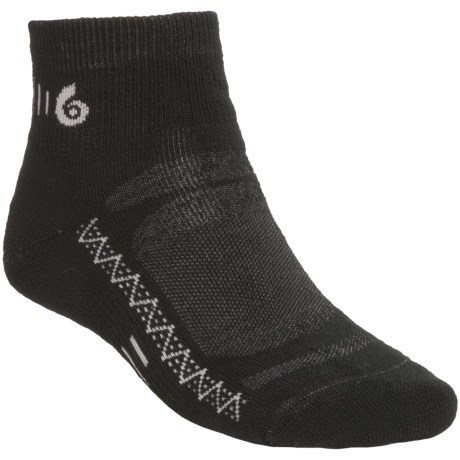 Point6 Active Mini Socks - Merino Wool Blend, Midweight (For Men and Women) in Black